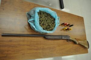 Det. escopeta y 2 kilos marihuana Tlaquiltenango