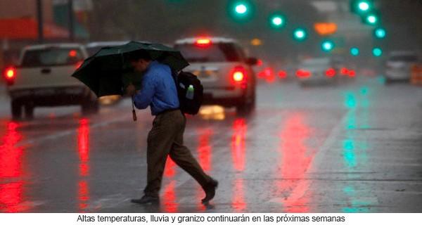 Altas temperaturas, lluvia y granizo continuarán en las próximas semanas